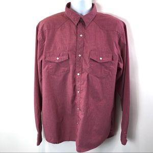 Vigo Mens Shirt Burgandy Wash Button Down Sz XXL